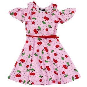 Girls Toddler Cold Shoulder Dress. Cherry Design